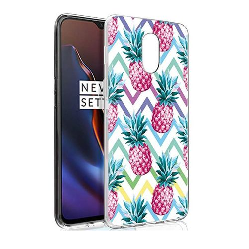 Pnakqil Oneplus 6T Case, Transparent Clear with Stylish 3d Patterned Ultra Slim Protective Shockproof Soft Gel TPU Silicone Back Cover Skin Cases for Oneplus 6 T, Pineapple 03