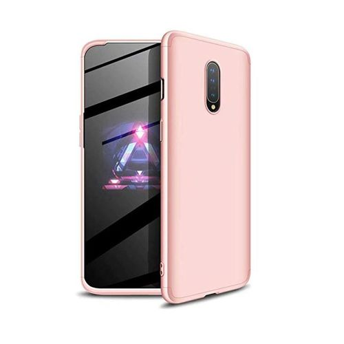 Ttimao Compatible with Oneplus 7/Oneplus 6T Case PC Hard Case [Tempered Glass Screen Protector] Ultra-Thin Shockproof 360 ° Bumper Cover 3-in-1 Protective Cover (Rose Gold)
