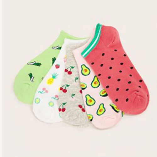 Shein Cherry & Avocado Pattern Ankle Socks 5pairs