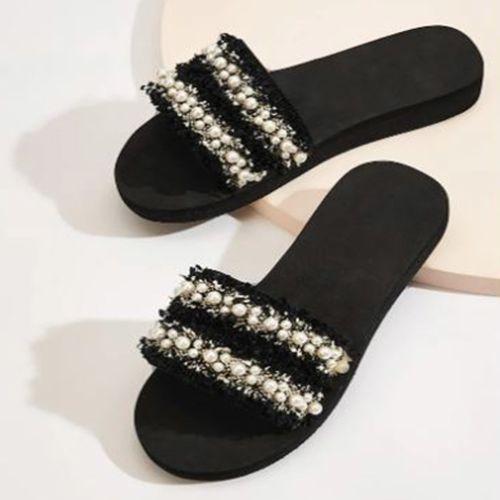 Shein Faux Pearl Decor Tweed Flat Sliders