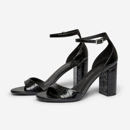 Dorothy Perkins Black Shilling Croc Heel Sandals