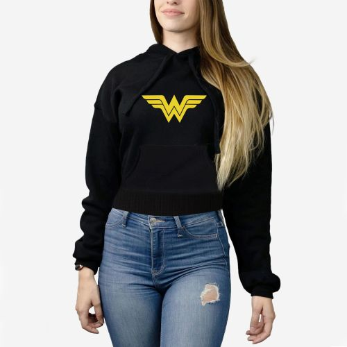 Female Crop Top Hoodie - Wonder Woman - Black