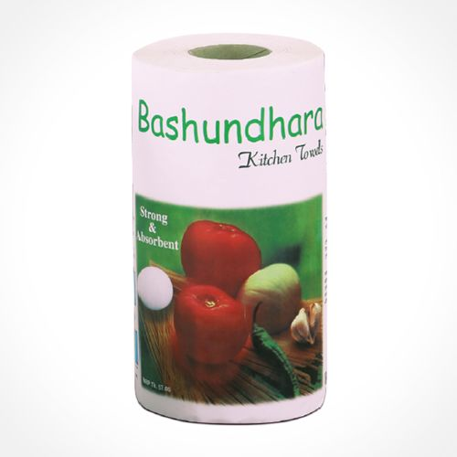Bashundhara Kitchen Towel White Tissue Roll Double Pack (2 Roll)