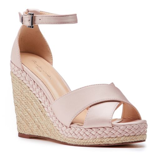 Pink by Paradox London - Pink Satin Yolanda High Heel Wedge Espadrille