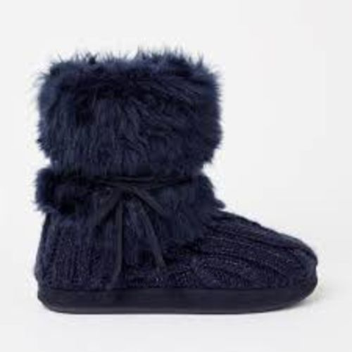Debenhams  Navy Faux Fur Cuff Sparkle Knitted Boots