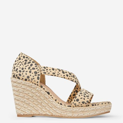 Multi Colour Leopard Print 'Ravello' Asymmetric Wedges