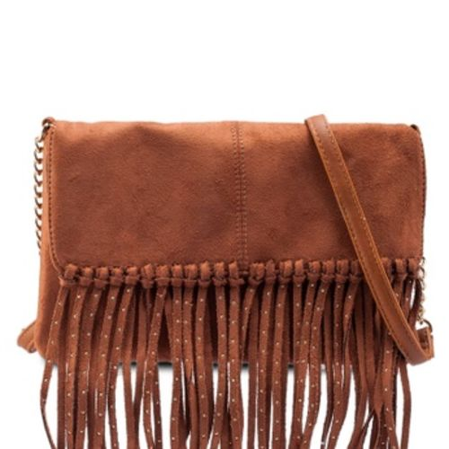 Tan Studded Fringe Cross Body Bag