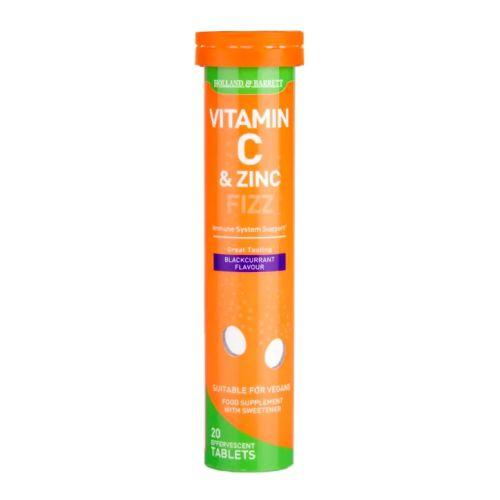 Holland & Barrett Vitamin C & Zinc Blackcurrant Effervescent 20 Tablets