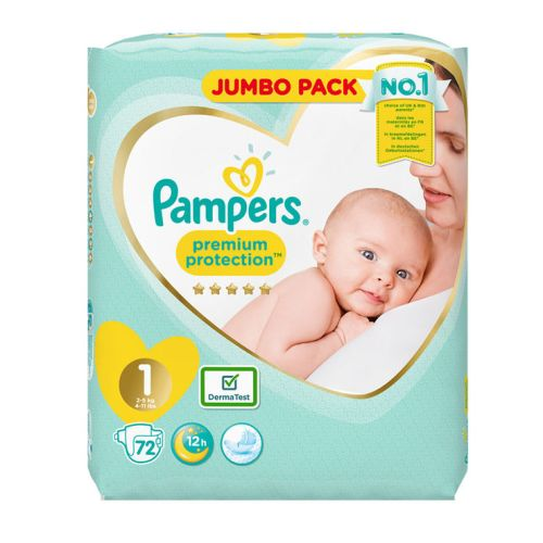Pampers Premium Protection Nappies Diaper - Size 1 - 52 pcs / 72 pcs Jumbo Pack