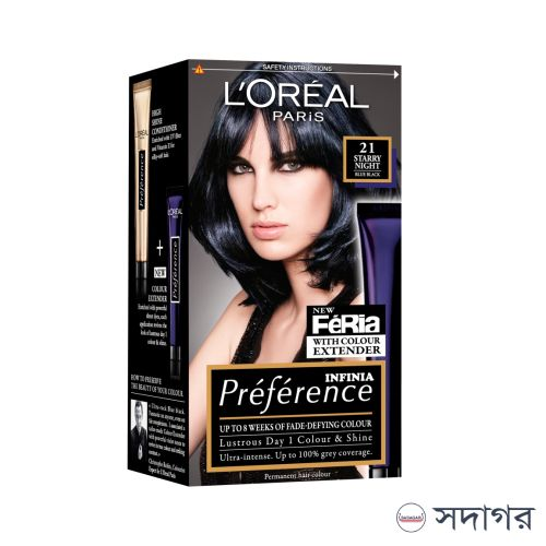 Loreal Paris Preference 21 Starry Night Blue Black Permanent Hair Dye