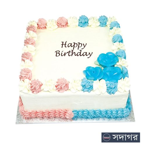 Happy Birthday Square Cake Theme 08