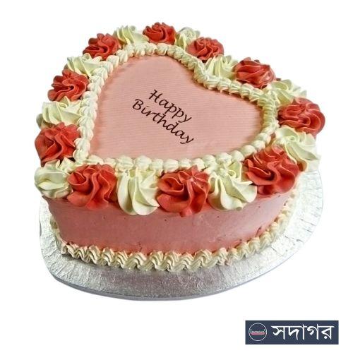 Happy Birthday Heart Cake Theme 05