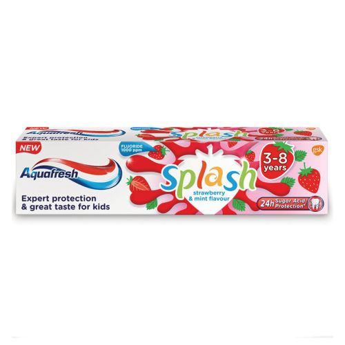 Aquafresh Kids Toothpaste, Splash 3-8 Years Strawberry & Mint Flavour 75 ml