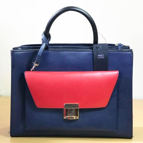 M&S Bottle Navy Blue with Red Crossbody Hand Bag with Shoulder Strap