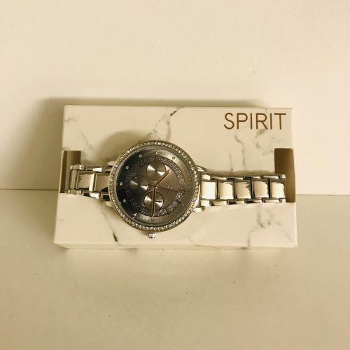 Spirit Silver Stainless Steel Bracelet Quartz Black Dial Watches