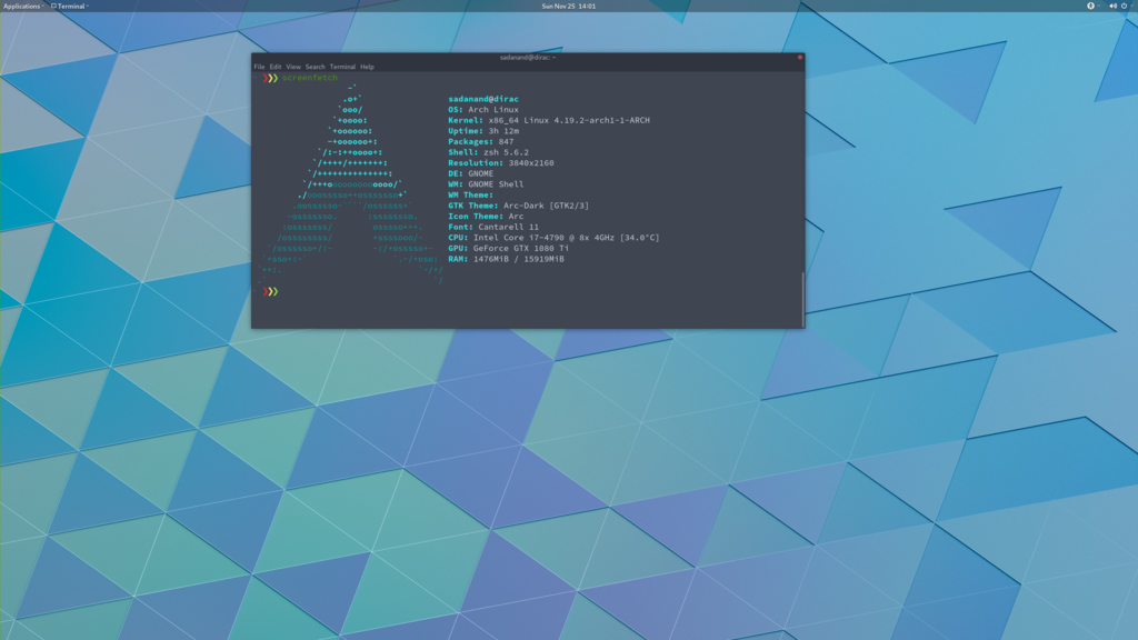 My Arch Linux Setup with GNOME 3 – Sadanand's Notes