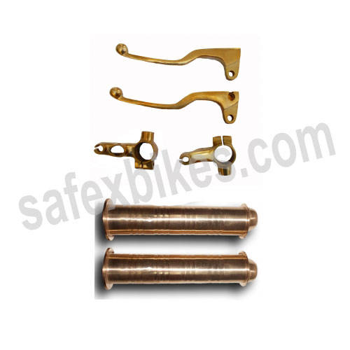 Buy BRASS SKULL HANDLE GRIP WITH PIPE AND LEVER SET AND YOKE D1 FOR ROYAL ENFIELD BULLET ZADON on 22.00 % discount