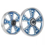 Buy ALLOY WHEEL SET FOR RE CLASSIC FATBOY HARLEY FROST BLUE CNC KINGWAY on  % discount