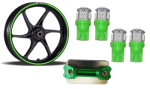 Buy GREEN FANCY DISC CAP WITH LED BULB SMALL SET OF 4 AND MONSTER ENERGY REFLECTIVE TAPE ZADON on 15.00 % discount
