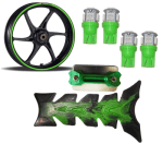 Buy GREEN FANCY DISC CAP WITH MONSTER ENERGY REFLECTIVE TAPE, HAND PROTECTOR SET AND PETROL TANK PAD RANGEELA JUMBO ZADON on 15.00 % discount