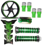 Buy GREEN FANCY DISC CAP WITH MONSTER ENERGY REFLECTIVE TAPE, LED SMALL BULB SET OF 4 PETROL TANK PAD RANGEELA JUMBO AND HANDLE GRIP WITH PIPE ZADON on  % discount