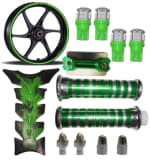 Buy GREEN FANCY DISC CAP WITH MONSTER ENERGY REFLECTIVE TAPE, LED SMALL BULB SET OF 4, PETROL TANK PAD RANGEELA JUMBO AND HANDLE GRIP WITH PIPE , SILVER HANDLE YOKE BOLT, SILVER TYRE NOZZLE CAP SET OF TWO ZADON on  % discount