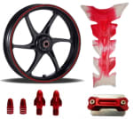 Buy MAROON  MONSTER ENERGY REFLECTIVE TAPE WITH HANDLE YOKE BOLT, TYRE MOZZLE CAP FANCY DISC CAP AND PETROL TANK PAD (TRANSPARENT MAROON) ZADON on 15.00 % discount