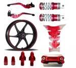 Buy MAROON  MONSTER ENERGY REFLECTIVE TAPE WITH HANDLE YOKE BOLT, TYRE MOZZLE CAP FANCY DISC CAP AND PETROL TANK PAD (TRANSPARENT MAROON),RIDE IT ADJUSTABLE LEVER SET AND  FANCY FOOT REST MONSTER ENERGY ZADON on 15.00 % discount