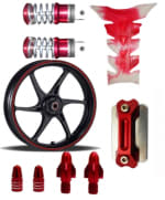 Buy MAROON  MONSTER ENERGY REFLECTIVE TAPE WITH HANDLE YOKE BOLT, TYRE MOZZLE CAP FANCY DISC CAP AND PETROL TANK PAD (TRANSPARENT MAROON)  AND  FANCY FOOT REST MONSTER ENERGY ZADON on 15.00 % discount