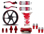 Buy MAROON  MONSTER ENERGY REFLECTIVE TAPE WITH HANDLE YOKE BOLT, TYRE MOZZLE CAP FANCY DISC CAP AND PETROL TANK PAD (TRANSPARENT MAROON),RIDE IT ADJUSTABLE LEVER SET AND  FANCY FOOT REST MONSTER ENERGY AND LED BULB SMALL RED SET OF 4 ZADON on 15.00 % discount