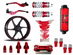 Buy MAROON  MONSTER ENERGY REFLECTIVE TAPE WITH HANDLE YOKE BOLT, TYRE MOZZLE CAP FANCY DISC CAP AND PETROL TANK PAD (TRANSPARENT MAROON),RIDE IT ADJUSTABLE LEVER SET AND  FANCY FOOT REST MONSTER ENERGY AND LED BULB SMALL RED SET OF 4 AND SILENCER CBR RED ZADON on 15.00 % discount