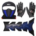 Buy FACE MASK FOR RIDERS(BLUE-BLACK) WITH BLACK PRO BIKES GLOVES AND PETROL TANK PAD ZADON on 15.00 % discount