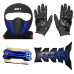 Buy FACE MASK FOR RIDERS(BLUE-BLACK) WITH BLACK PRO BIKES GLOVES, FANCY DISC CAP AND PETROL TANK PAD ZADON on 15.00 % discount