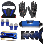 Buy FACE MASK FOR RIDERS(BLUE-BLACK) WITH BLACK PRO BIKES GLOVES, FANCY DISC CAP, LED BULB SMALL SET OF 4 BLUE COLOR,UNIVERSAL CBZ SILENCER AND PETROL TANK PAD ZADON on 15.00 % discount