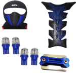 Buy FACE MASK FOR RIDERS(BLUE-BLACK) WITH FANCY DISC CAP, LED BULB SMALL SET OF 4 BLUE COLOR AND PETROL TANK PAD ZADON on  % discount