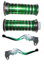 Buy HANDLE GRIP WITH PIPE (CROME PAINTED GREEN) WITH GREEN ADJUSTABLE LEVER SET ZADON on 15.00 % discount
