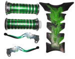 Buy HANDLE GRIP WITH PIPE (CROME PAINTED GREEN) WITH GREEN ADJUSTABLE LEVER SET AND  PETROL TANK PAD GREEN ZADON on 15.00 % discount
