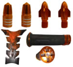 Buy ORANGE HANDLE YOKE FANCY BOLT WITH TYRE NOZZLE CAP,PETROL TANK PAD AND FANCY HANDLE GRIP SET ZADON on 15.00 % discount