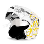 Buy Vega Helmet - flip up Helmet - Boolean Street (White Base with Yellow Graphic Helmet) on  % discount