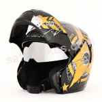 Buy Vega flip up Helmet - Boolean Navy (Dull Black Base with Golden Graphic) on  % discount