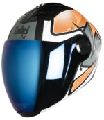 Buy FULL FACE HELMET SBA-2 ROBOTICS MAT BLACK WITH ORANGE AND WHITE (600MM) STEELBIRD AIR on  % discount