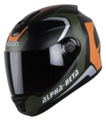 Buy FULL FACE HELMET  SBH-11 ALPHA BETA GLOSSY BATTLE GREEN WITH ORANGE  HIGN on 5.00 % discount