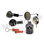 Buy STYLISH SKULL TAIL LIGHT WITH CHROME PLATED REAR VIEW MIRROR, CHROME PLATED INDICATOR BLUE SET OF 2 AND FANCY KEY CHAIN ROYAL ENFIELD(RED) ZADON on 15.00 % discount