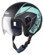 Buy OPEN FACE HELMET SBH-16 PULSE BEAT MATT BLACK WITH LIGHT BLUE HIGN on  % discount