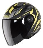 Buy OPEN FACE HELMET SB-43 YO YO DAZZLE MAT BLACK WITH YELLOW GREY (560MM) STEELBIRD on  % discount