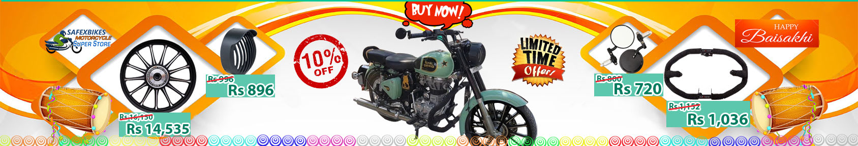 Special offers on Genuine Motorcycle Spare Parts And Accessories - Get 10 percent off on Baisakhi