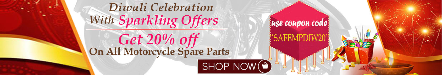 Special offers on Genuine Motorcycle Spare Parts And Accessories - 20% off all spare parts diwali offers