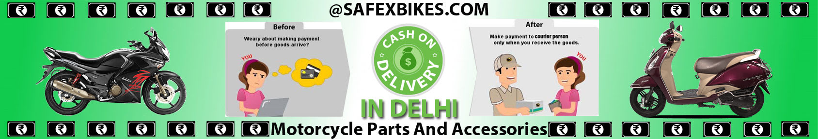 Special offers on Genuine Motorcycle Spare Parts And  		   Accessories - Cash on delivery in Delhi