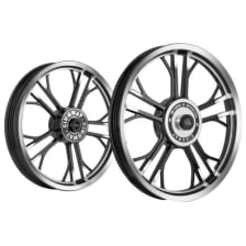 Buy ALLOY WHEEL SET FOR RE CLASSIC HARLEY YMODEL RIM BLACK CNC SPOKES HALF BLACK HALF CNC KINGWAY on 10.00 % discount