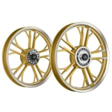 Buy ALLOY WHEEL SET FOR RE STANDARD GOLD CNC YMODEL HARLEY KINGWAY on 10.00 % discount